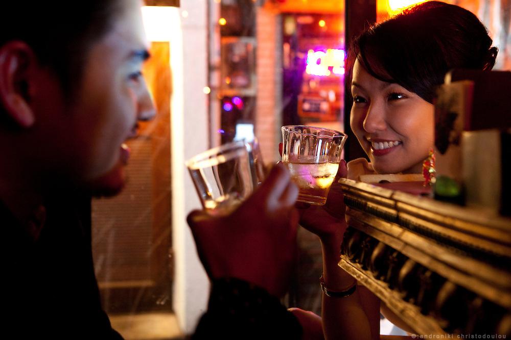 Ben and Winnie at the Albatros bar in Shinjuku