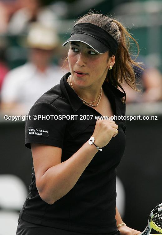 France's Avarane Rezai celebrates a point. ASB Classic Semi-Finals. ASB Tennis Centre, Auckland, New Zealand. Friday 4 January 2008. Photo: Hagen Hopkins/PHOTOSPORT