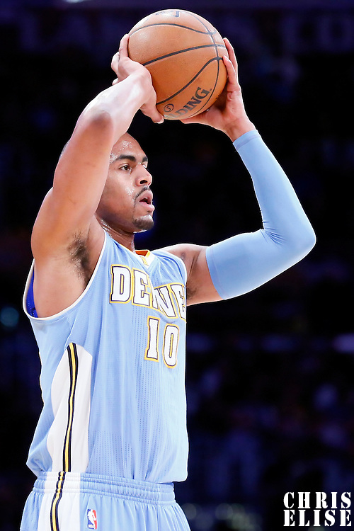 10 February 2015: Denver Nuggets guard Arron Afflalo (10) looks to pass the ball during the Denver Nuggets 106-96 victory over the Los Angeles Lakers, at the Staples Center, Los Angeles, California, USA.