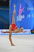 Durunda Marina during qualifying at ball in Pesaro World Cup 10 April 2015.<br /> Marina is a Azerbaijani individual rhythmic gymnast of Ukrainian origin, she born on June 12, 1997 in Sevastopol.