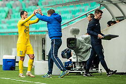 Tonci Mujan of NK Domzale and Simon Rozman head coach of NK Domzale during Football match between NK Olimpija Ljubljana and NK Domzale in 33th Round of Prva liga Telekom Slovenije 2018/19, on May 15th, 2019, in Stadium Stozice, Slovenia. Photo by Grega Valancic / Sportida