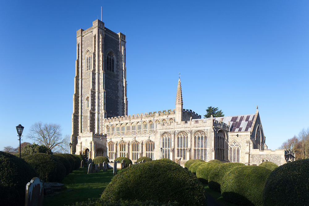 Saint Peter and Saint Paul's church, Lavenham, Suffolk, United Kingdom is a medieval church built in lavish style from the proceeds of the medieval wool industry. A so called 'Wool Church'.
