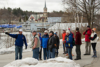 Allan Beetle explains the proposed route through Lakeport heading towards Weirs Beach on Saturday's Wow Trail walk.  (Karen Bobotas/for the Laconia Daily Sun)