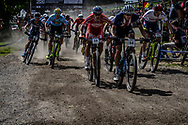 BLEVINS Christopher (USA) leads out at the start of the Team Relay at the 2019 UCI MTB World Championships in Mont-Sainte-Anne, Canada.