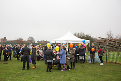 © Licensed to London News Pictures. 16/01/2017. York UK. Picture shows hundreds of people who turned out to release balloons to celebrate Katie Rough's 8th birthday. Katie Rough's parents Paul Rough & Alison Rough where joined by hundreds of people in Westfield Park in York this afternoon to release balloons on what would have been Katie's 8th birthday. Katie died last week after being found with significant cuts to her neck & chest.  Photo credit: Andrew McCaren/LNP