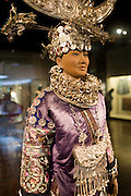 Chinese costume and Miao silver jewellery on display in the Shanghai Museum, China
