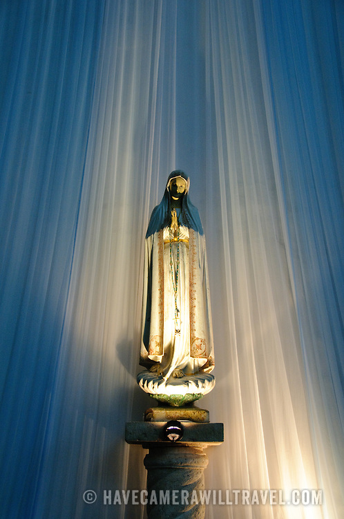 A statue of the Virgin Mary inside the colonial Cathedral of San Bernadino, Valladolid, Yucatan, Mexico