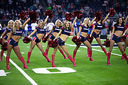 The Houston Texans cheerleaders perform a dance routine during the NFL week 8 regular season football game against the Miami Dolphins on Thursday, Oct. 25, 2018 in Houston. The Texans won the game 42-23. (©Paul Anthony Spinelli)