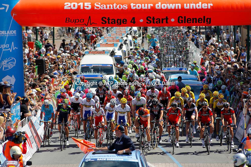 2015 Santos Tour Down Under. Adelaide. Australia.<br /> 23.1.2015.  Glenelg to Mount Barker.144.5km<br /> Start @ Colley Terrace in Glenelg. <br /> into stage 4  - Tour Down Under Australia 2015, Cycling, road race, Radrennen, Australien -  Radsport - Rad Rennen -<br /> - fee liable image: copyright &copy; ATP - IVKA Damir<br /> <br /> first row; 94, MALACARNE Davide, ITA, Astana, 7,DENNIS Rohan, AUS, BMC, 181,BOBRIDGE Jack, AUS, Team Unisa, 102,CARUSO Giampaolo, ITA, Katusha,<br /> 121, CAPECCHI Eros, ITA, Movistar,