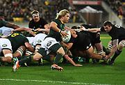 Faf de Klerk.<br /> New Zealand All Blacks v South Africa Springboks. Rugby Championship test match. Westpac Stadium, Wellington, New Zealand. Saturday 15 September 2018. &copy; Copyright photo: Andrew Cornaga / www.Photosport.nz