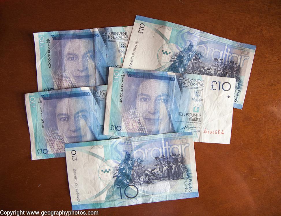 Ten Pound notes Gibraltar, British terroritory in southern Europe