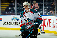 KELOWNA, CANADA - JANUARY 26: Ethan Ernst #19 of the Kelowna Rockets warms up against the Vancouver Giants  on January 26, 2019 at Prospera Place in Kelowna, British Columbia, Canada.  (Photo by Marissa Baecker/Shoot the Breeze)