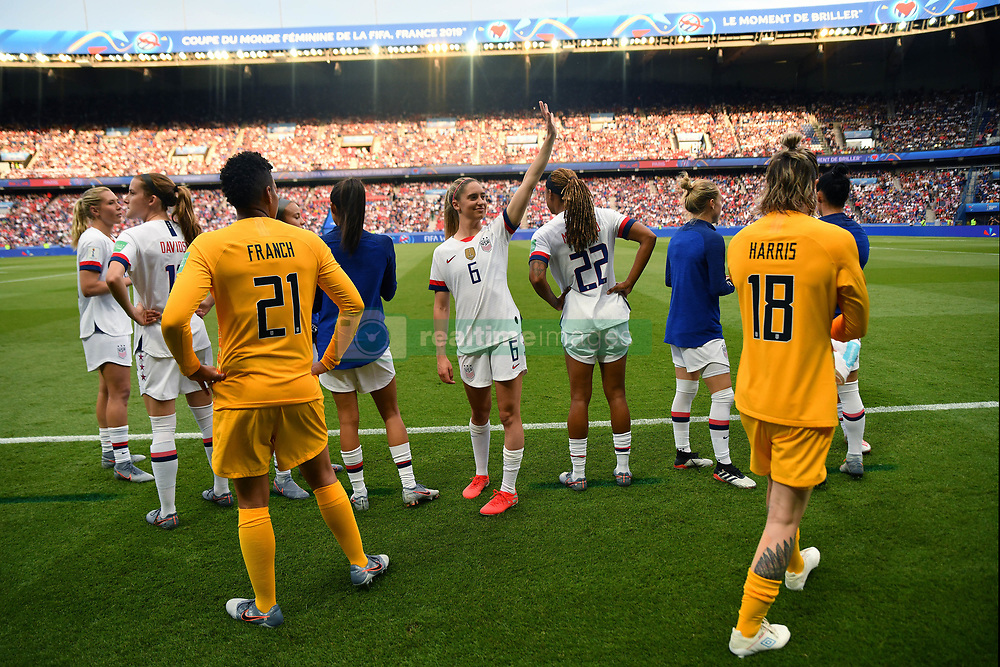 June 29, 2019 - Paris, ile de france, France - Morgan Brian (USA) wave to friends and family before the quarter-final between FRANCE vs USA in the 2019 women's football World cup at Parc des Princes in Paris, on the 28 June 2019. (Credit Image: © Julien Mattia/NurPhoto via ZUMA Press)