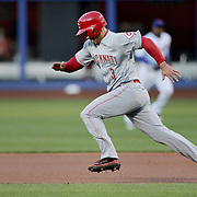 NEW YORK, NEW YORK - APRIL 27:  Ivan De Jesus #3 of the Cincinnati Reds runs to second during the New York Mets Vs Cincinnati Reds MLB regular season game at Citi Field on April 27, 2016 in New York City. (Photo by Tim Clayton/Corbis via Getty Images)