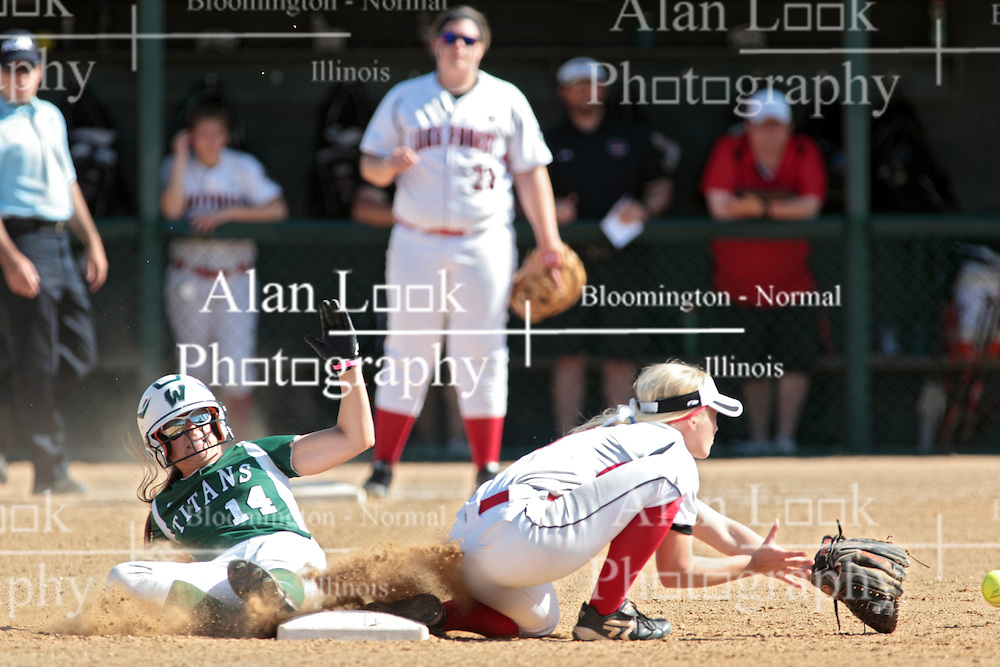 09 May 2014:  Kyley McKeown slides into 2nd base during an NCAA Division III women's softball championship series game between the Lake Forest Foresters and the Illinois Wesleyan Titans in Bloomington IL