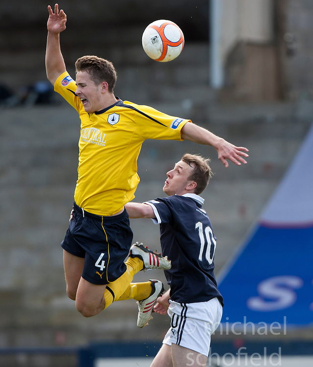 Falkirk's Will Vaulks and Raith Rovers Greig Spence..Raith Rovers 0 v 0 Falkirk, 27/4/2013..© Michael Schofield.