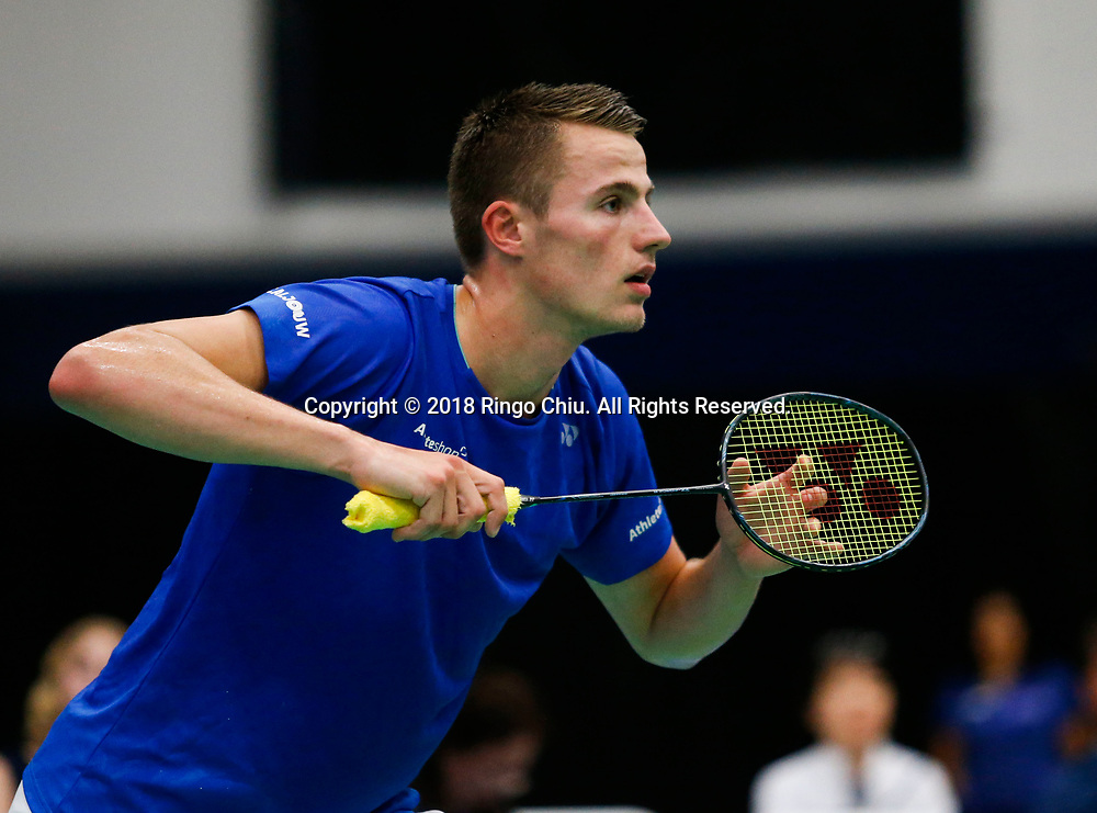 Mark Caljouw of Netherland, competes with Lee Dong Keun of Korea, during the men's singles final match at the U.S. Open Badminton Championships in Fullerton, California, on June 17, 2018. Lee won 2-1. (Photo by Ringo Chiu)<br /> <br /> Usage Notes: This content is intended for editorial use only. For other uses, additional clearances may be required.