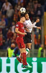 ROME, ITALY - Wednesday, May 2, 2018: Liverpool's Virgil van Dijk and AS Roma's Edin Džeko during the UEFA Champions League Semi-Final 2nd Leg match between AS Roma and Liverpool FC at the  Stadio Olimpico. (Pic by David Rawcliffe/Propaganda)