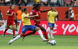 06.07.2011, Commerzbank-Arena, Frankfurt, GER, FIFA Women Worldcup 2011, Gruppe D, Äquatorial-Guinea (EQG) vs. Brasilien (BRA) ,. im Bild Bruna (EQG) gegen Francielle (BRA) . // during the FIFA Women´s Worldcup 2011, Pool D, Equatorial Guinea vs Brazil on 2011/07/06, Commerzbank-Arena, Frankfurt, Germany. EXPA Pictures © 2011, PhotoCredit: EXPA/ nph/  Karina Hessland       ****** out of GER / CRO  / BEL ******
