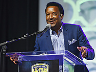 Hall of Famer Pedro Martinez greets the audience during the Best of Hometeam All-Star banquet, on Thursday, June 22, 2017.