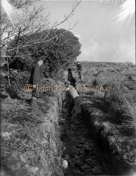 26-29/01/1960<br /> 01/26-29/1960<br /> 26-29 January 1960<br /> Gael-Linn Special at Gweedore and Teelin Co. Donegal. Picture shows men clearing a drainage ditch in a field.