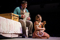 "Uncle Rudy (Michael G. Baker) and Little Girl (Janney Brook Halperin) during dress rehearsal for Act One - But The Giraffe for the Winnipesaukee Playhouse production of ""The Brundibar Project"" Tuesday evening.  (Karen Bobotas/for the Laconia Daily Sun)"