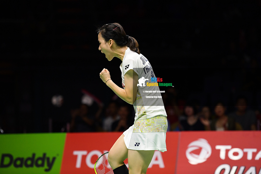 BANGKOK, THAILAND - MAY 25: Nitchaon Jindapol of Thailand reaction on Court 1 during her Semi-Finals match against Gao Fangjie of China at the BWF Total Thomas and Uber Cup Finals 2018, Impact Arena , Bangkok, Thailand on May 25, 2018.<br /> .<br /> .<br /> .<br /> Photo by: Naratip Golf Srisupab/SEALs Sports Images<br /> <br /> .<br /> All photo must include a credit line adjacent to the content: Naratip Golf Srisupab/SEALs Sports Images