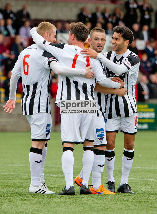 Stenhousemuir v Dunfermline Athletic SPFL League One Season 2015/16 Ochilview Park 19 September 2015<br /> Faissal El Bakhtaoui celebrates making it 4-0<br /> CRAIG BROWN | sportPix.org.uk