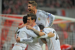 29.04.2014, Allianz Arena, Muenchen, GER, UEFA CL, FC Bayern Muenchen vs Real Madrid, Halbfinale, Ruckspiel, im Bild Freude bei Cristiano Ronaldo (Real Madrid) nach seinem Tor zum 0:3, ganz links, daneben Gareth Bale (Real Madrid), Sergios Ramos (Real Madrid) und Angel di Maria (Real Madrid) // during the UEFA Champions League Round of 4, 2nd Leg Match between FC Bayern Munich vs Real Madrid at the Allianz Arena in Muenchen, Germany on 2014/04/30. EXPA Pictures © 2014, PhotoCredit: EXPA/ Eibner-Pressefoto/ Stuetzle<br /> <br /> *****ATTENTION - OUT of GER*****