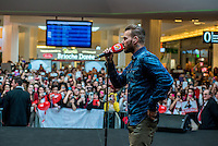 LYON, FRANCE - FEBRUARY 11: French singer Matt Pokora performs in front of a crowd of fans during a public showcase organized by Radio Scoop at Part-Dieu shopping center on February 11, 2015 in Lyon, France. (Photo by Bruno Vigneron/Getty Images)