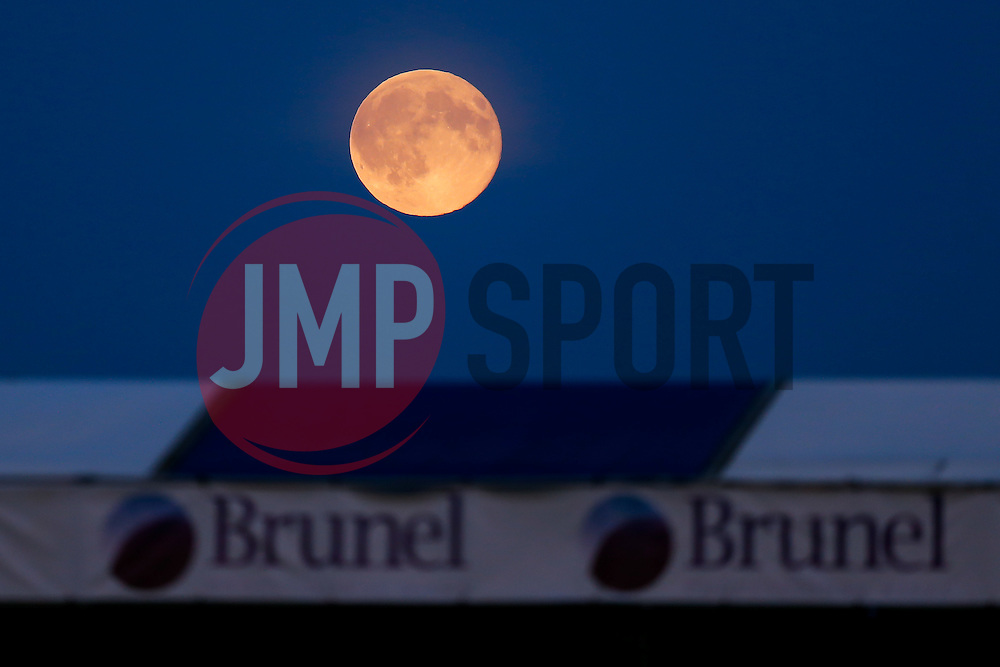 "A rare ""Blue Moon"" rises over the ground during the match - Mandatory byline: Rogan Thomson/JMP - 07966 386802 - 31/07/2015 - FOOTBALL - Memorial Stadium - Bristol, England - Bristol Rovers v West Bromwich Albion - Phil Kite Testimonial Match."