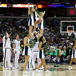 April 7, 2013; New Orleans, LA, USA; Notre Dame Fighting Irish cheerleaders perform against the Connecticut Huskies during the first half in the semifinals during the 2013 NCAA womens Final Four at the New Orleans Arena. Mandatory Credit: Derick E. Hingle-USA TODAY Sports