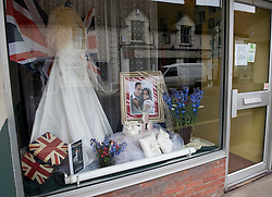 LOCATION, UK  29/04/2011. The Royal Wedding of HRH Prince William to Kate Middleton. ..A wedding dress shop in Wilton shows support for the Royal Wedding.....Photo credit should read Ian Forsyth/LNP.