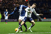 Birmingham City midfielder Demarai Gray and Preston North End Midfielder Paul Gallagher battle during the Sky Bet Championship match between Preston North End and Birmingham City at Deepdale, Preston, England on 15 December 2015. Photo by Pete Burns.