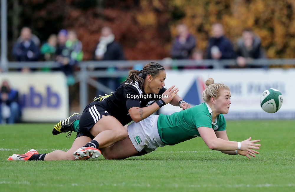 Women's November Series, Belfield Bowl, UCD 27/11/2016<br /> Ireland vs New Zealand <br /> Ireland's Cliodhna Moloney with Honey Hireme of New Zealand<br /> Mandatory Credit &copy;INPHO/Morgan Treacy