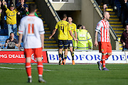 Oxford midfielder Liam Sercombe celebrates goal during the Sky Bet League 2 match between Oxford United and Stevenage at the Kassam Stadium, Oxford, England on 25 March 2016. Photo by Alan Franklin.