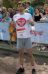 David Tennant taking part in a one mile run for Sport Relief charity in London, 25th March 2012.  Photo by: i-Images