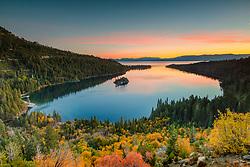 """Emerald Bay in Autumn 2"" - Sunrise photograph of fall foliage above Emerald Bay, Lake Tahoe."