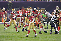 3 February 2013: Kicker (2) Davis Akers of the San Francisco 49ers walks off the field after a kickoff to the Baltimore Ravens during the second half of the Ravens 34-31 victory over the 49ers in Superbowl XLVII at the Mercedes-Benz Superdome in New Orleans, LA.