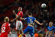 Charlton Athletic's Josh Magennis heads towards goal during the EFL Sky Bet League 1 match between Charlton Athletic and Shrewsbury Town at The Valley, London, England on 10 May 2018. Picture by John Marsh.