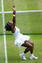LONDON, ENGLAND - Saturday, July 9, 2016: Serena Williams (USA) falls to the floor as she celebrates after winning the Ladies' Singles Final 7-5, 6-3, her 22nd Grand Slam singles title, on day thirteen of the Wimbledon Lawn Tennis Championships at the All England Lawn Tennis and Croquet Club. (Pic by Kirsten Holst/Propaganda)
