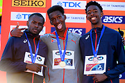 Jordan A. Diaz (CUB) wins the Gold Medal Jonathan Seremes (FRA) win the Bronze Medal and Martin Lamou (FRA) win the Silver Medal in Triple Jump Men during the IAAF World U20 Championships 2018 at Tampere in Finland, Day 5, on July 14, 2018 - Photo Julien Crosnier / KMSP / ProSportsImages / DPPI