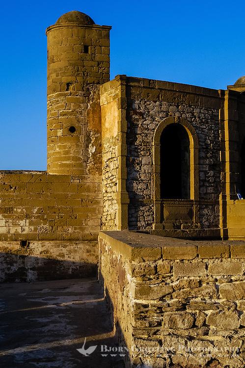 Essaouira is a city on the Moroccan Atlantic coast. Fortress walls originally enclosed the entire city.