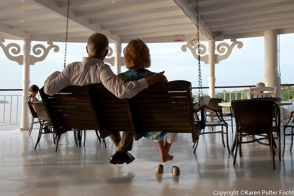One of the favorite pastimes aboard the American Queen is swinging or rocking on the front porch watching the river go by. The riverboat takes travelers into places on the Mississippi River that they would have difficulty getting to otherwise. Many guests were on the cruise celebrating anniversaries and other special occasions.