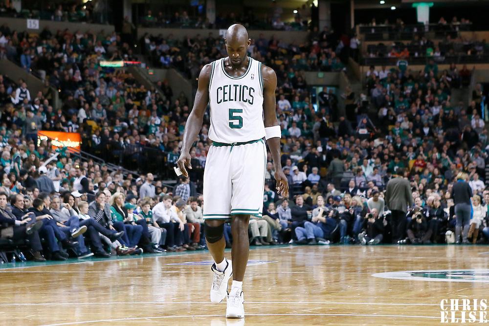 27 January 2013: Boston Celtics power forward Kevin Garnett (5) rests during the Boston Celtics 100-98  2OT victory over the Miami Heat at the TD Garden, Boston, Massachusetts, USA.
