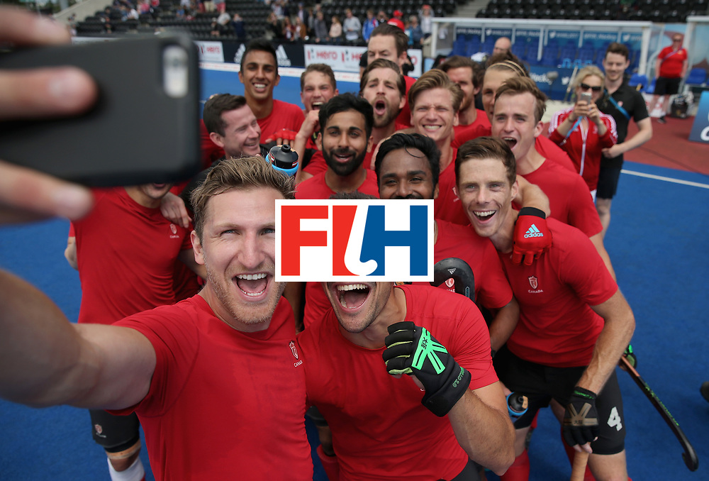 LONDON, ENGLAND - JUNE 25: Canada players celebrate world cup qualification with a selfie after the 5th/6th place match between India and Canada on day nine of the Hero Hockey World League Semi-Final at Lee Valley Hockey and Tennis Centre on June 25, 2017 in London, England. (Photo by Alex Morton/Getty Images)
