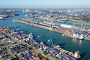 Nederland, Zuid-Holland, Rotterdam, 18-02-2015. Stadshavens, Prinses Beatrixhaven (Eemhaven). Shortsea hub, overslag van containers. <br /> City harbours,  short sea hub with container terminals.<br /> luchtfoto (toeslag op standard tarieven);<br /> aerial photo (additional fee required);<br /> copyright foto/photo Siebe Swart