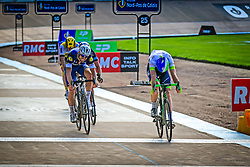 Mathew Hayman (AUS) Orica Green EDGE outsprints Tom Boonen (BEL) Etixx-Quick Step, Ian Stannard (GBR) Team Sky and Sep Vanmarcke (BEL) Lotto NL-Jumbo at the finish line of the Roubaix Velodrome at the end of the 114th edition of  Paris Roubaix 2016 race running 255.5km from Compiegne to Roubaix, France. 10th April 2016.<br /> Photo by Eoin Clarke / PelotonPhotos.com<br /> <br /> All photos usage must carry mandatory copyright credit (&copy; Peloton Photos | Newsfile | Eoin Clarke)