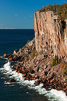 Sea cliff, over 300' tall, looking over the waters of Lake Superior along the North Shore of Minnesota.
