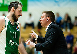 Dalibor Dzapa of Krka and Simon Petrov, head coach of Krka during basketball match between KK Krka and KK Petrol Olimpija in 22nd Round of ABA League 2018/19, on March 17, 2019, in Arena Leon Stukelj, Novo mesto, Slovenia. Photo by Vid Ponikvar / Sportida